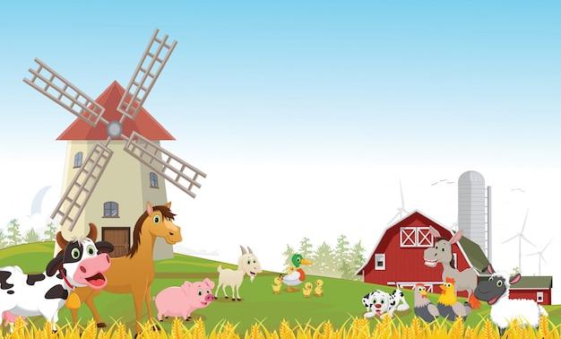 Illustratie van gelukkig boerderij dierlijk beeldverhaal