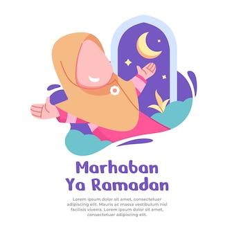 Illustratie van gelukkig meisje met komende maand ramadan