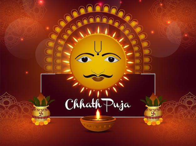 Illustratie van gelukkige chhath puja-achtergrond en zonfestival van india