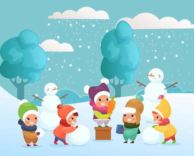 Illustratie van gelukkige grappige en schattige kinderen spelen met sneeuw, waardoor sneeuwpop buiten. spelende kinderen, wintervakantie concept in platte cartoon stijl.
