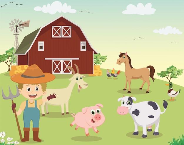 Illustratie van gelukkige jonge boer die op de boerderij werkt