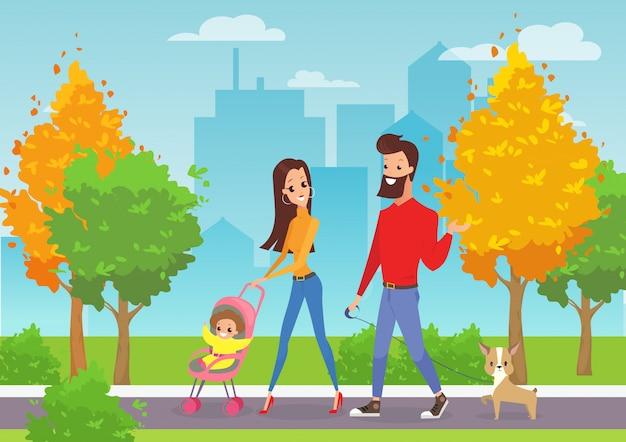 Illustratie van gelukkige jonge familie met peuter wandelen in stadspark buiten met moderne stadsgezicht achtergrond in cartoon stijl.