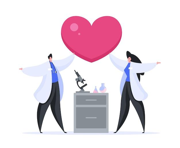 Illustratie van gelukkige karakters van mannelijke en vrouwelijke medisch specialisten