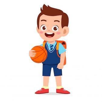 Illustratie van gelukkige leuke jongen klaar om naar school te gaan