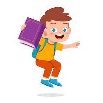 Illustratie van gelukkige leuke jongen met boek en potlood