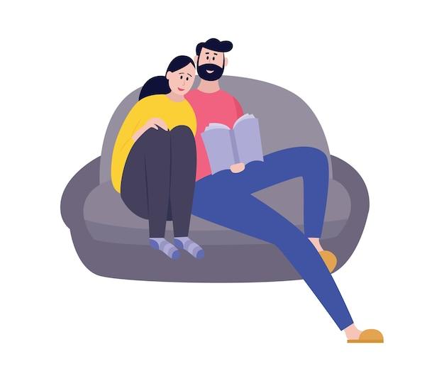 Illustratie van gelukkige mannen en vrouwen die samen een boek lezen geïsoleerd