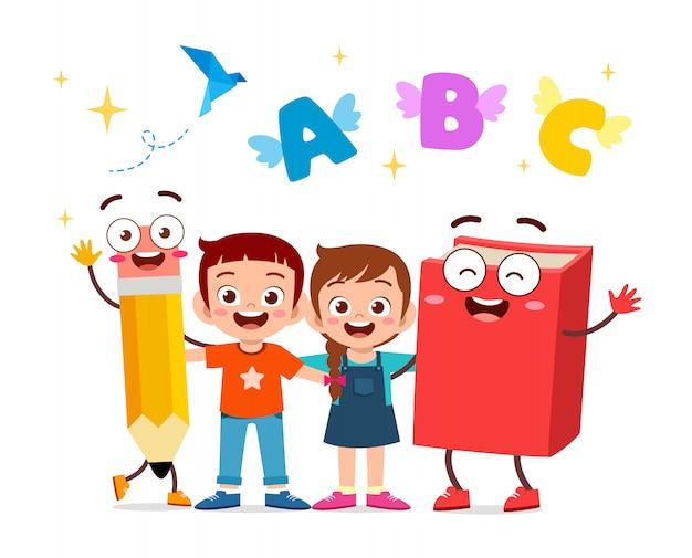Illustratie van gelukkige schattige kinderen met boek en potlood