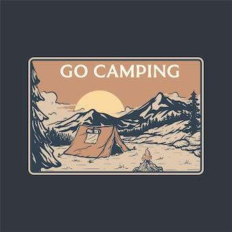 Illustratie van genieten van kamperen in de natuur in het bos