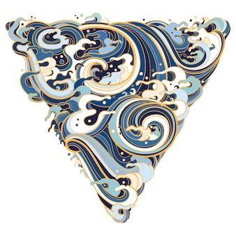 Illustratie van geometrische vorm driehoek met mariene golven in traditionele oosterse stijl.
