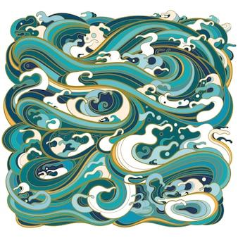 Illustratie van geometrische vorm vierkant met mariene golven in traditionele oosterse stijl.