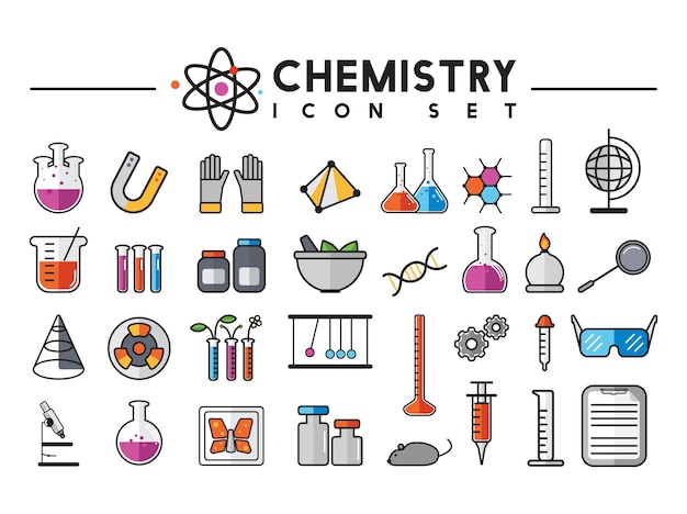 Illustratie van geplaatste chemielaboratoriuminstrumenten
