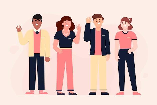 Illustratie van geplaatste groep mensen
