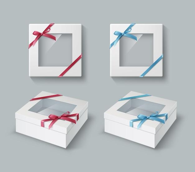 Illustratie van geschenkdozen met transparant venster en gekleurde linten met boog-knoop geïsoleerd op een grijze achtergrond