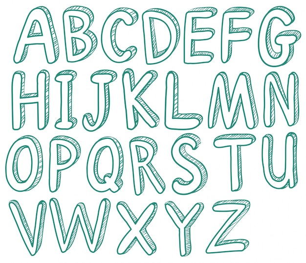 Illustratie van geschetste letters lettertype