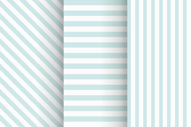 Illustratie van gestripte naadloze patronen in zachte blauwe kleur