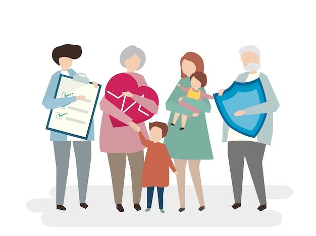 Illustratie van gezinsverzekeringen