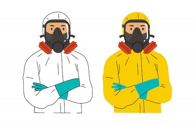 Illustratie van gezondheidswerkers die pakken met gevaarlijke stoffen of pakken met gevaarlijke stoffen dragen, ook wel ontsmettingspakken genoemd