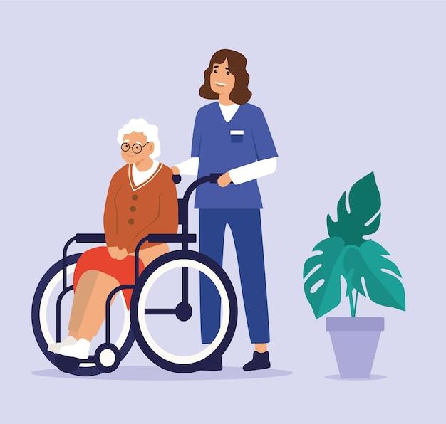 Illustratie van gezondheidszorgassistent op plichten met bejaarde dame in rolstoelen in verzorgingshuis.