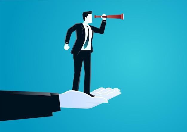 Illustratie van gigantische hand die een zakenman bovenop helpt met behulp van telescoop