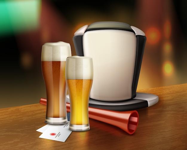 Illustratie van glas bier en hoed van voetbalfan met trompet in staaf