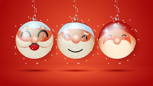Illustratie van glazen kerstbal met de kerstman erin