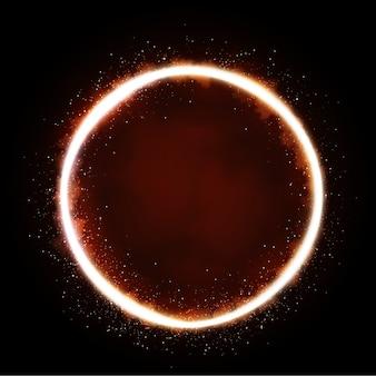 Illustratie van glinsterende ster, stofcirkel, gloed, lichten.