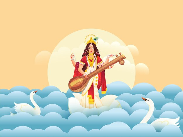 Illustratie van godin saraswati maa met zwanen en papier gesneden golven