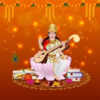 Illustratie van godin saraswati voor vasant panchami india festival achtergrond