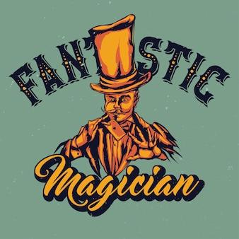 Illustratie van goochelaar in hoed met kaart in de handen met letters