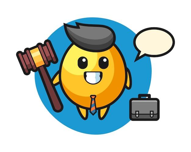 Illustratie van gouden eimascotte als advocaat, leuk stijlontwerp