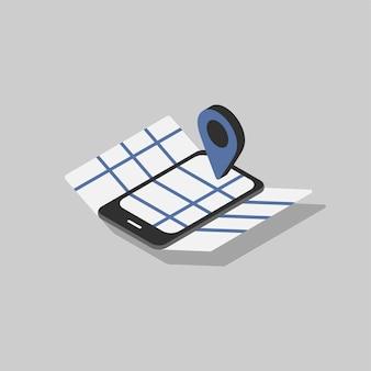 Illustratie van gps-navigatie