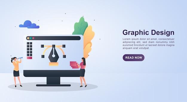 Illustratie van grafisch ontwerp met behulp van de pen op het scherm.