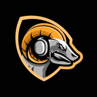 Illustratie van grafische geit e-sport mascotte
