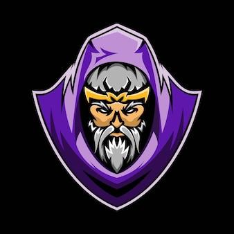 Illustratie van grafische wizard e-sport mascotte
