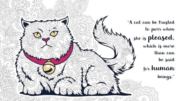 Illustratie van grappige cartoon dikke kat doodle met citaten in zentangle gestileerd