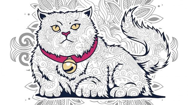 Illustratie van grappige cartoon dikke kat met citaten in gestileerde zentangle