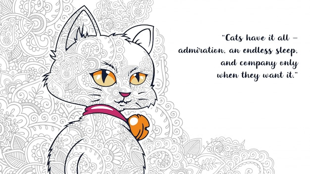Illustratie van grappige cartoon kat met citaten in gestileerde zentangled