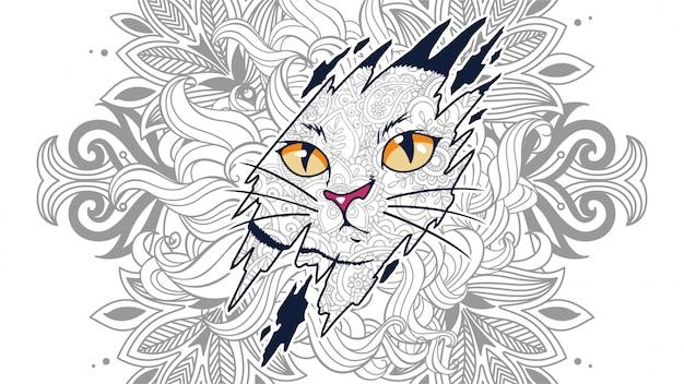 Illustratie van grappige kat hoofd in zentangle gestileerde achtergrond