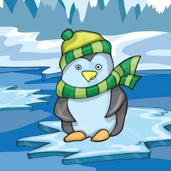 Illustratie van grappige pinguïn op ijsachtergrond - vectorillustratie