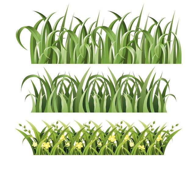 Illustratie van groen gras ingesteld op witte achtergrond. lente en zomer in.