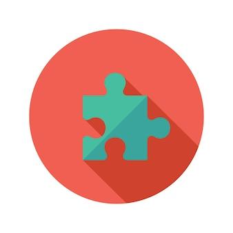 Illustratie van groen puzzel plat pictogram over rood
