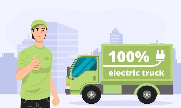Illustratie van groene elektrische vrachtwagen met een bezorger.