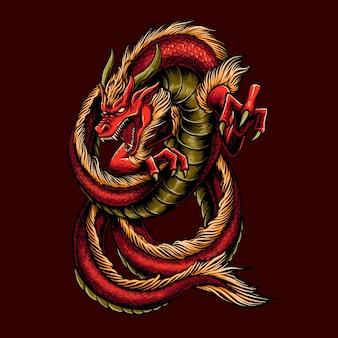 Illustratie van groot rood draakontwerp