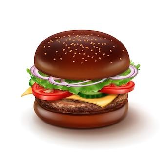 Illustratie van grote cheeseburger met zwart broodje, sesam, groenten, kaas en rundvleespasteitje.