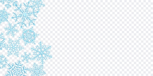 Illustratie van grote complexe doorschijnende kerst sneeuwvlokken in lichtblauwe kleuren, gelegen aan de linkerkant, geïsoleerd op transparante achtergrond. transparantie alleen in vectorformaat