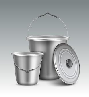 Illustratie van grote en kleine metalen emmers met handvat