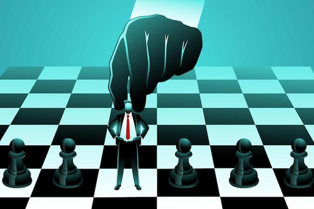 Illustratie van grote hand die kleine zakenman als pion op schaakbord gebruikt