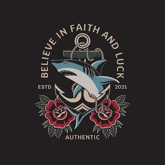 Illustratie van haai en anker met traditionele tattoo-stijl vector