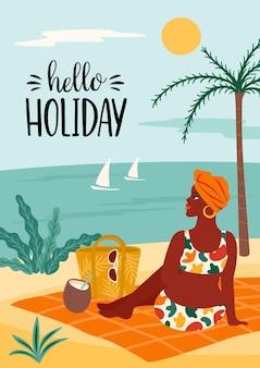 Illustratie van hallo vakantie met vrouw in zwempak op tropisch strand.