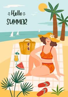 Illustratie van hallo zomer met vrouw in zwembroek op tropisch strand.
